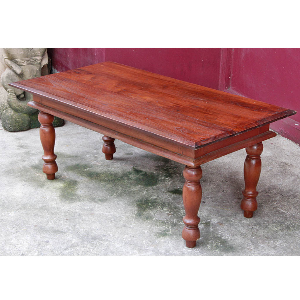 Antique Teak Coffee Table: Antique Burmese Colonial-era Teak Coffee Table With Turned