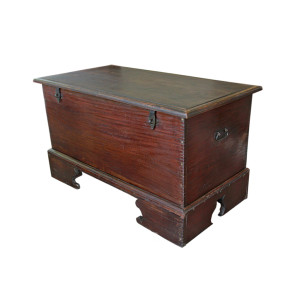 Very Large Burmese Teak Chest with Bracket Legs and Fine Dovetail Joinery