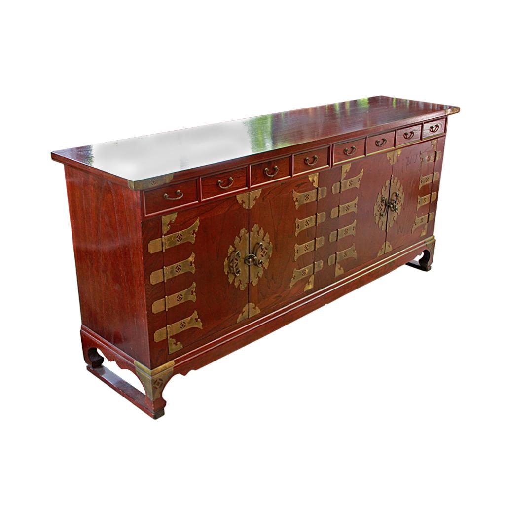 Korean Elm Double Cabinet Buffet Credenza 56 000