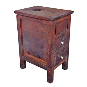 Small Thai Teak Donation Box with Drawers