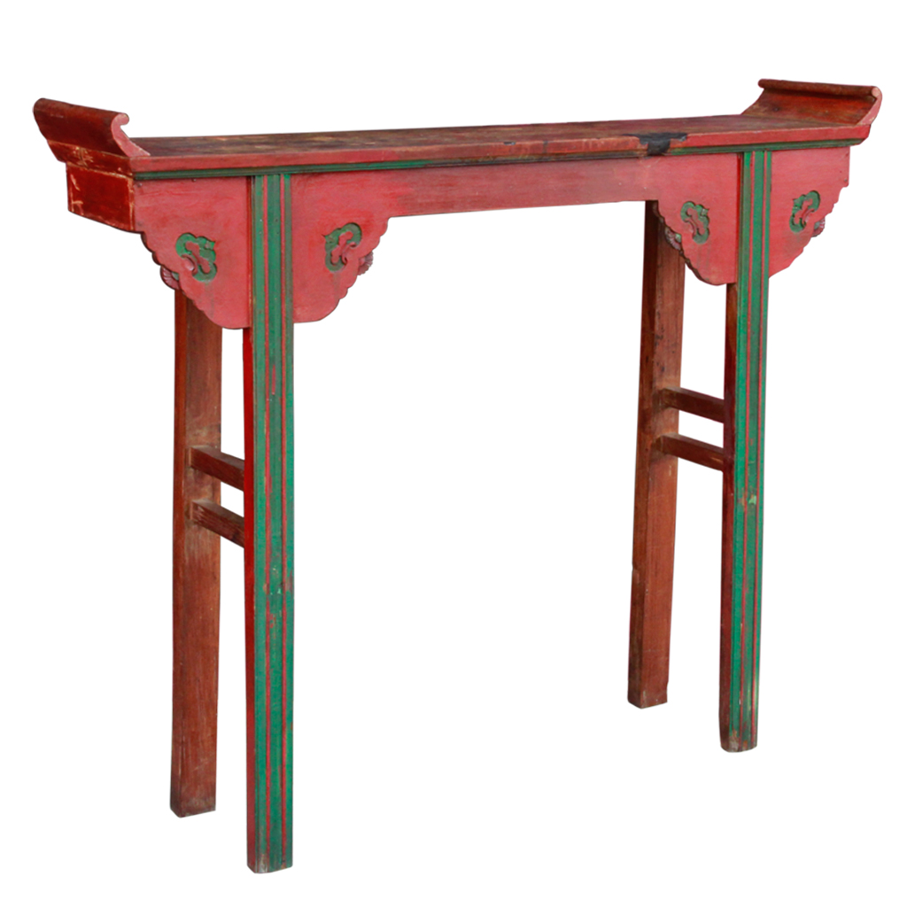 Antique Thai Chinese Teak Altar Table with Original Paint