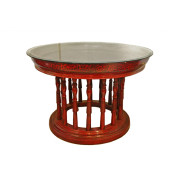 Large Burmese Teak Lacquered Kalat Table with Glass Top