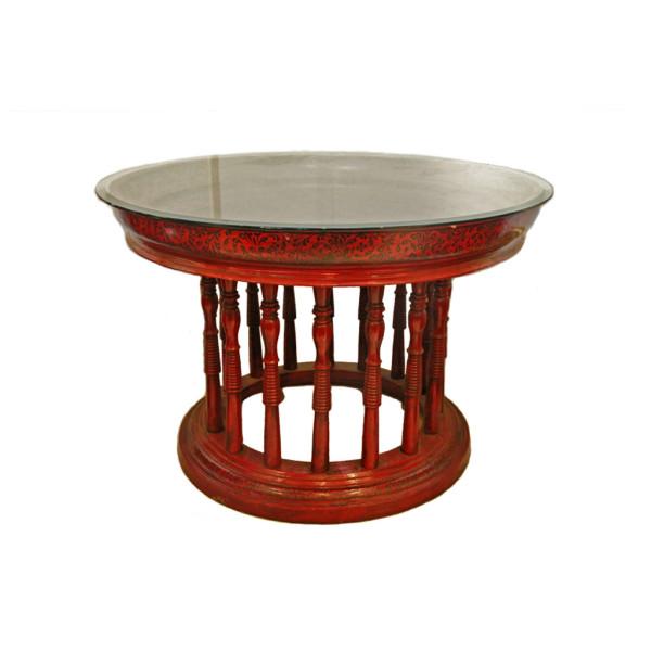 Large Burmese Teak Lacquered Kalat Table with Glass Top