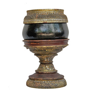 Burmese Metal Offering Bowl on a Bamboo Lacquered Stand