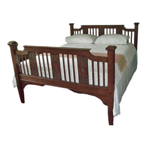 Burmese Colonial Carved Teak Queen-size Bed