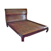 "Custom Reclaimed Teak Sleighbed with Inward Turning ""Opium Table"" Legs"