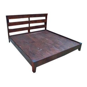 Custom Platform Reclaimed Teak Bed with Simple Slated Headboard