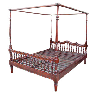 Antique Colonial Burmese Four-Poster Teak Bed