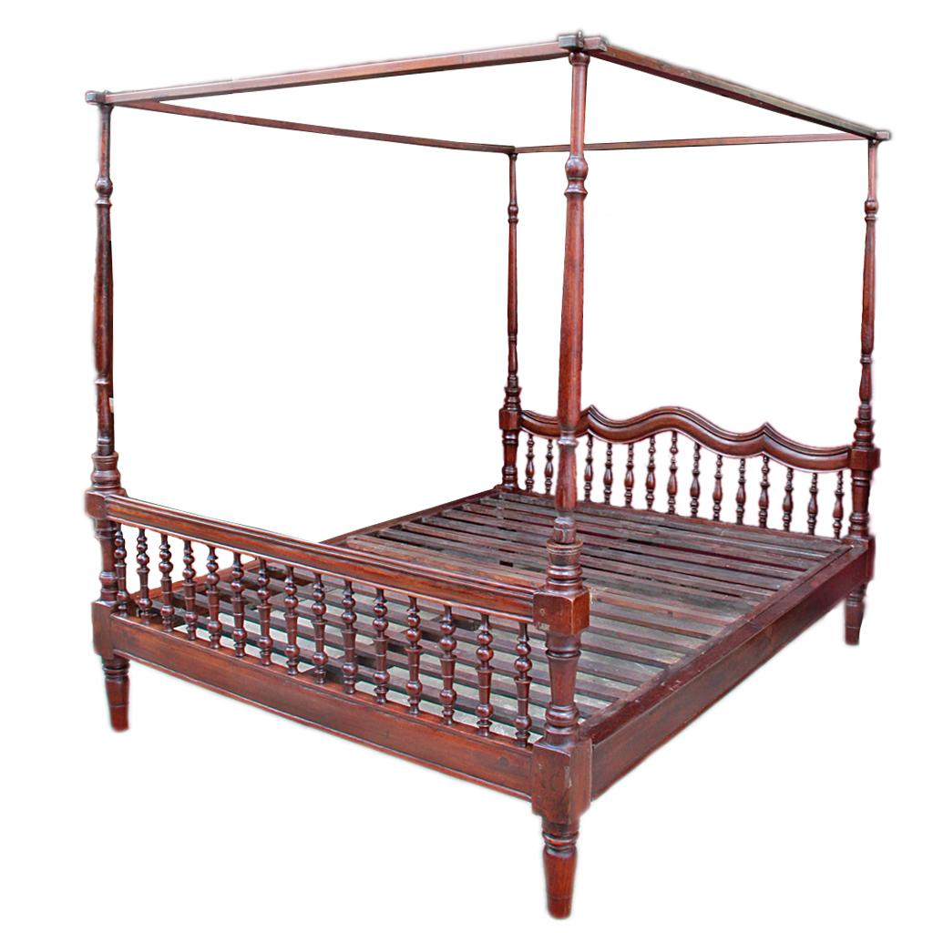 Antique Colonial Burmese Four Poster Teak Bed