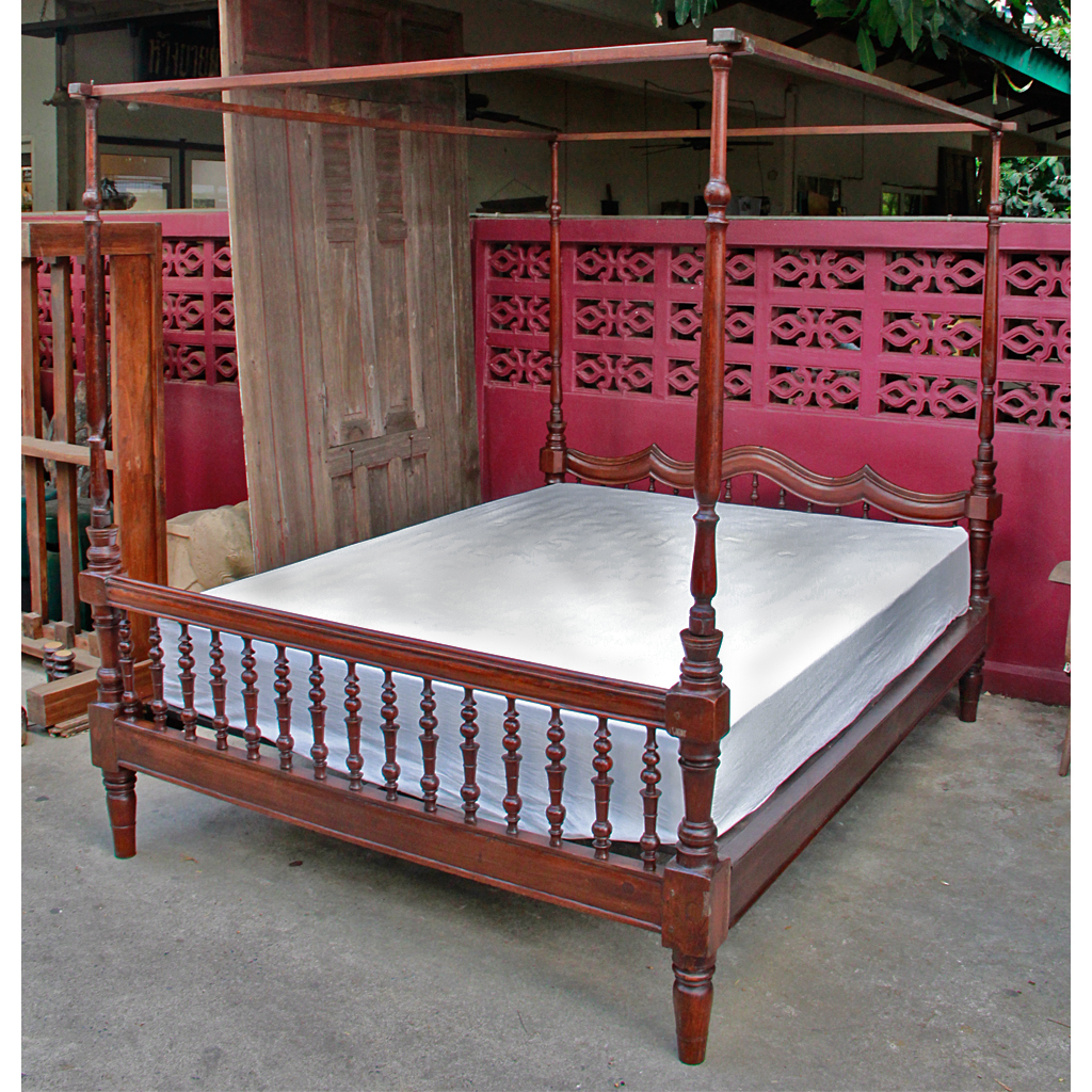 Antique colonial burmese four poster teak bed for Colonial beds
