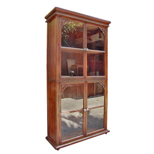 Custom Reclaimed Glass and Teak Bookcase