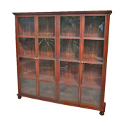 Burmese Colonial-era Teak Double Book Cabinet with Bun Feet