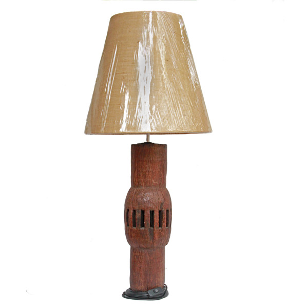 Repurposed Thai Ox Cart Wheel Axel made into Table Lamp