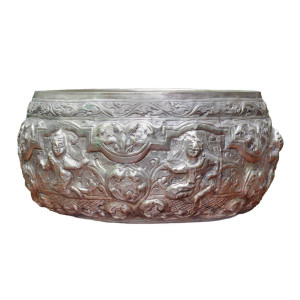Thai Repoussé Silver Bowl Depicting Angelic Figures