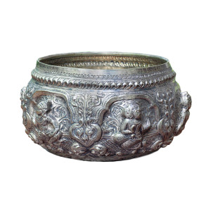 Thai Repoussé Silver Bowl Depicting Dancing Figures