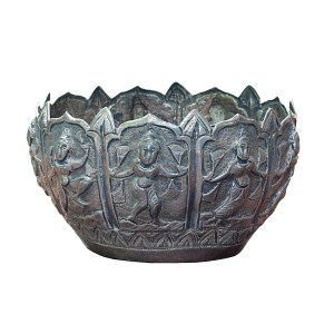 Silver Repoussé Bowl with Nine Female Deities in Various Poses