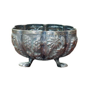 Small Silver 19th Century Thai Repousse Stem Bowl