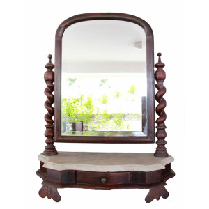 Colonial Burmese Teak Marble Top Vanity with Barley Twist Sides