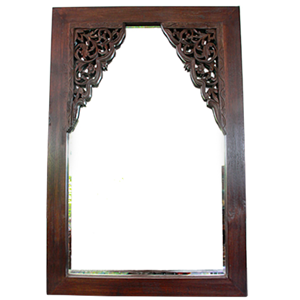 Custom mirror made from antique teak wood carvings for Custom made mirrors