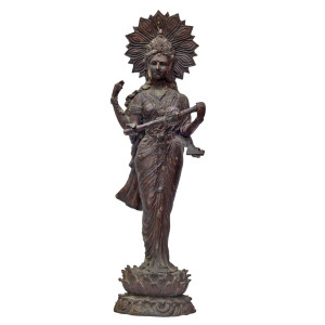 Indian Bronze Saraswati Standing on Lotus Statue