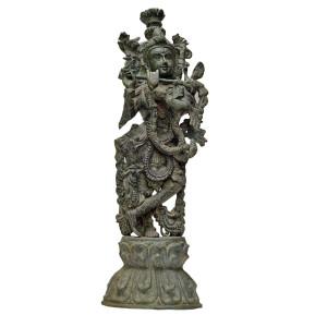 hindu goddess playing flute statue