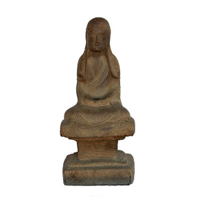 Chinese Wei Dynasty Style Stone Monk Sitting in Dhyana Mudra