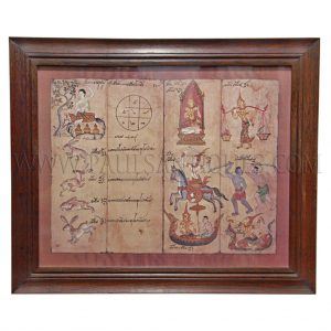 Print of Astrological Chart for Thai Year of Rabbit in Teak Frame
