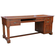 Large Colonial-Style Teak Desk from Thailand