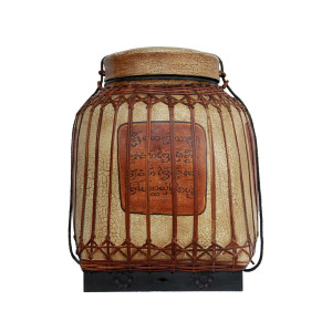 Large Northern Thai Bamboo Lacquered Rice Storage Basket with Lanna Script