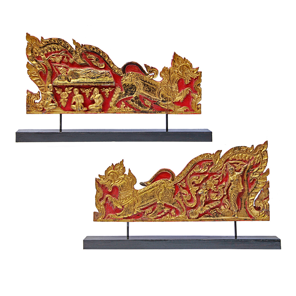 Rare Pair of Antique Thai Monk's Gilded Throne Side Panels