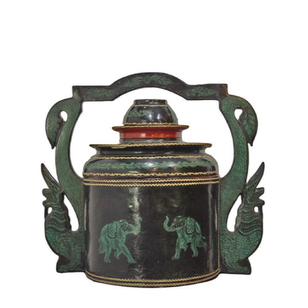 Burmese Black and Green Lacquered Offering Container with Naga Handles