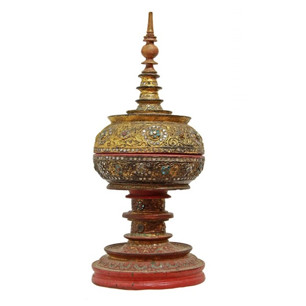 "Burmese Gilded Relief (""thayo"") with Glass Inlay Offering Vessel"