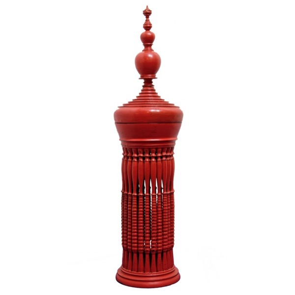Tall Burmese Red Lacquered Offering Vessel