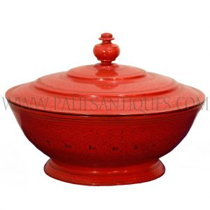 Burmese Red Lacquer Lidded Offering Vessel with Astrological Symbols