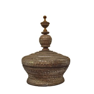 Burmese Golden Offering Vessel Inlaid with Silver Crystalized Cut Glass