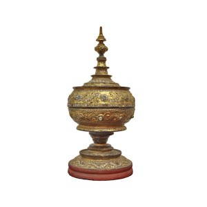 "Small Burmese Gilded Relief (""thayo"") with Glass Inlay Offering Vessel"