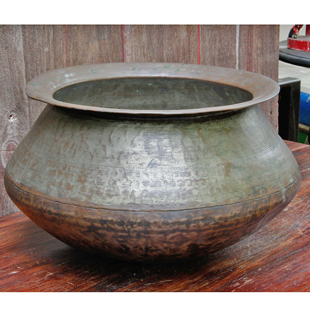 Large Hand Hammered Laotian Bronze Cooking Pot