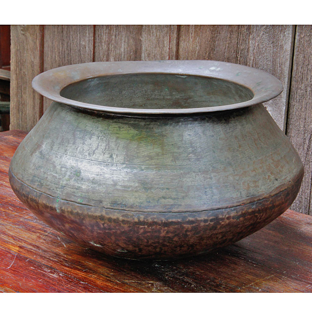 Large Hand-hammered Laotian Bronze Cooking Pot