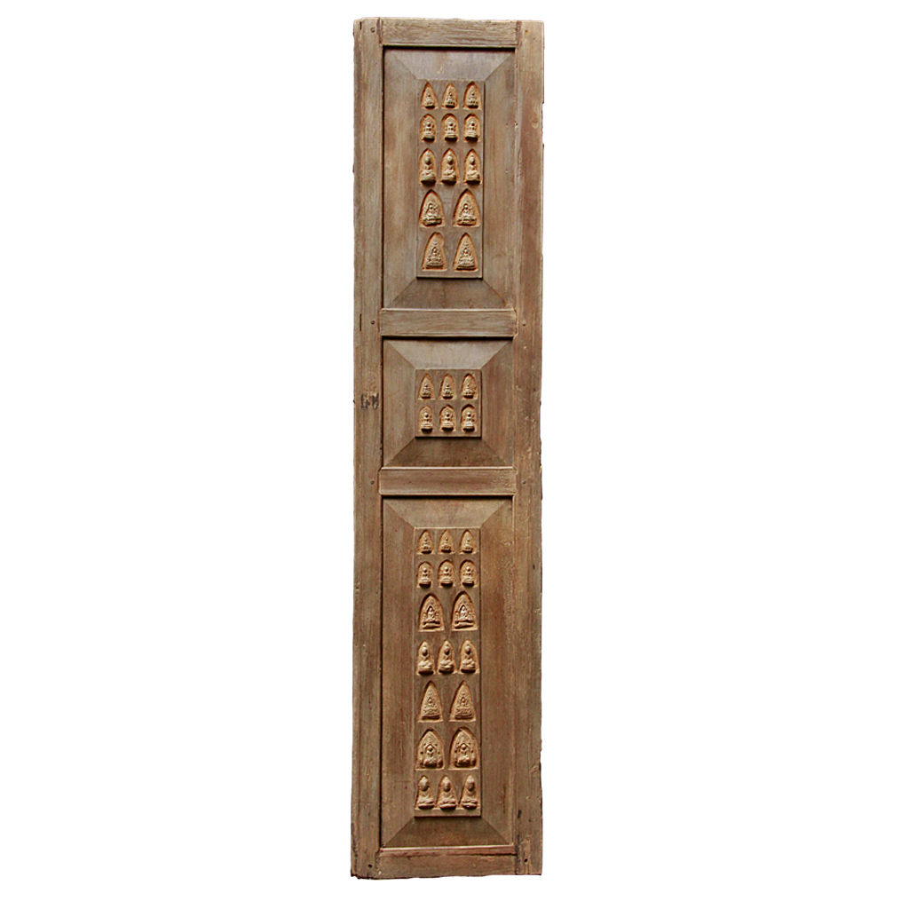 Old Chiang Mai Teak Door Inlaid With Clay Amulets