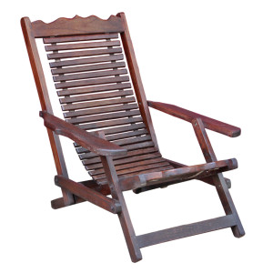 Old Thai Teak Slatted Folding Deck Chair