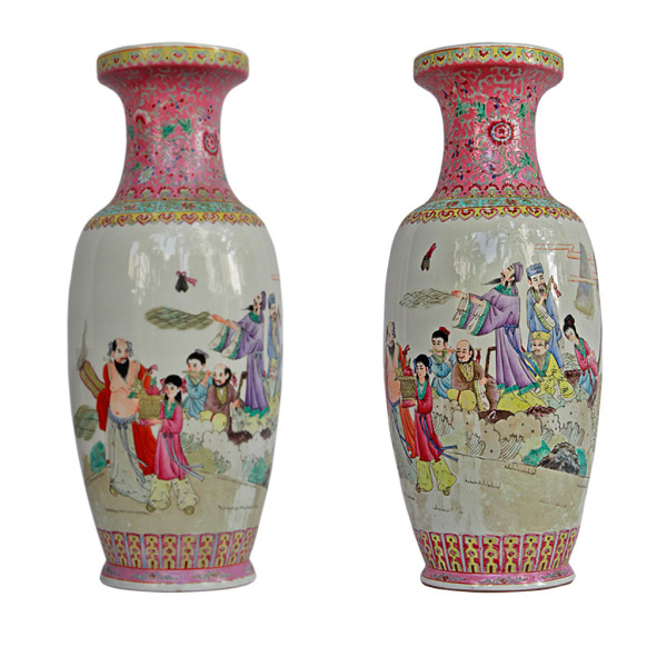 Pair of Tall Chinese Porcelain Vases Made for Southeast Asian Market