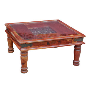 Indonesian Teak and Iron Glass-top Coffee Table