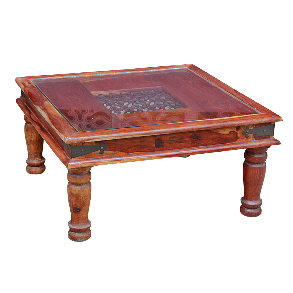 Teak Ottoman Coffee Table: Indonesian Teak And Iron Glass-top Coffee Table