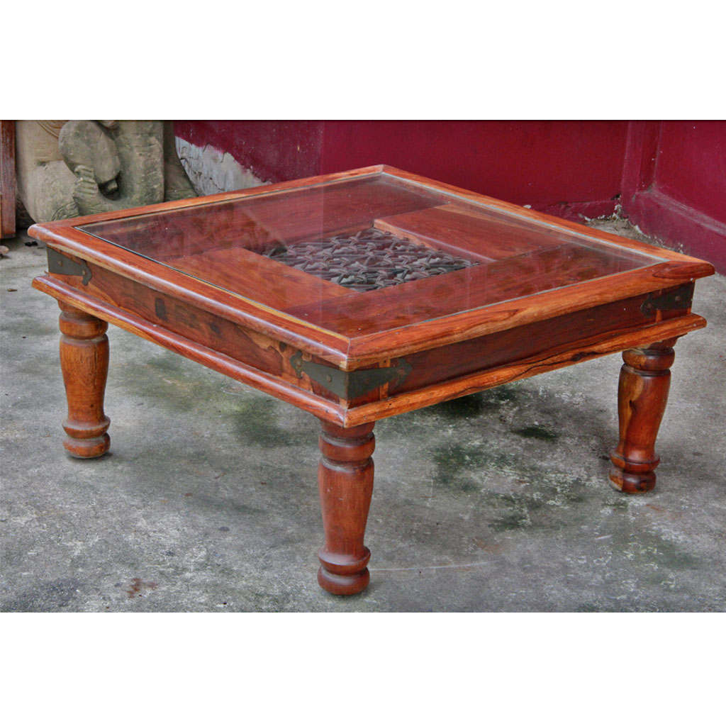 Indonesian Teak And Iron Glass Top Coffee Table