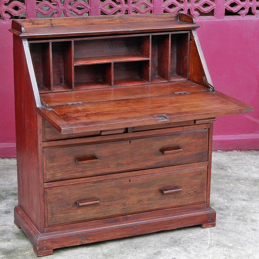 Colonial Burmese Teak Drop Lid Secretary Desk With Chest Of Drawers 38 000