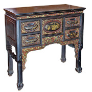 Antique Chinese Elm Sideboard with Painted Handles