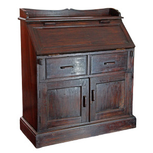 Colonial Burmese Teak Drop Lid Secretary Desk