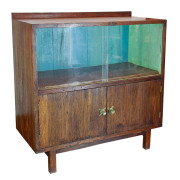 "Thai ""Retro"" Teak Sideboard with Sliding Glass and Blue Paint"