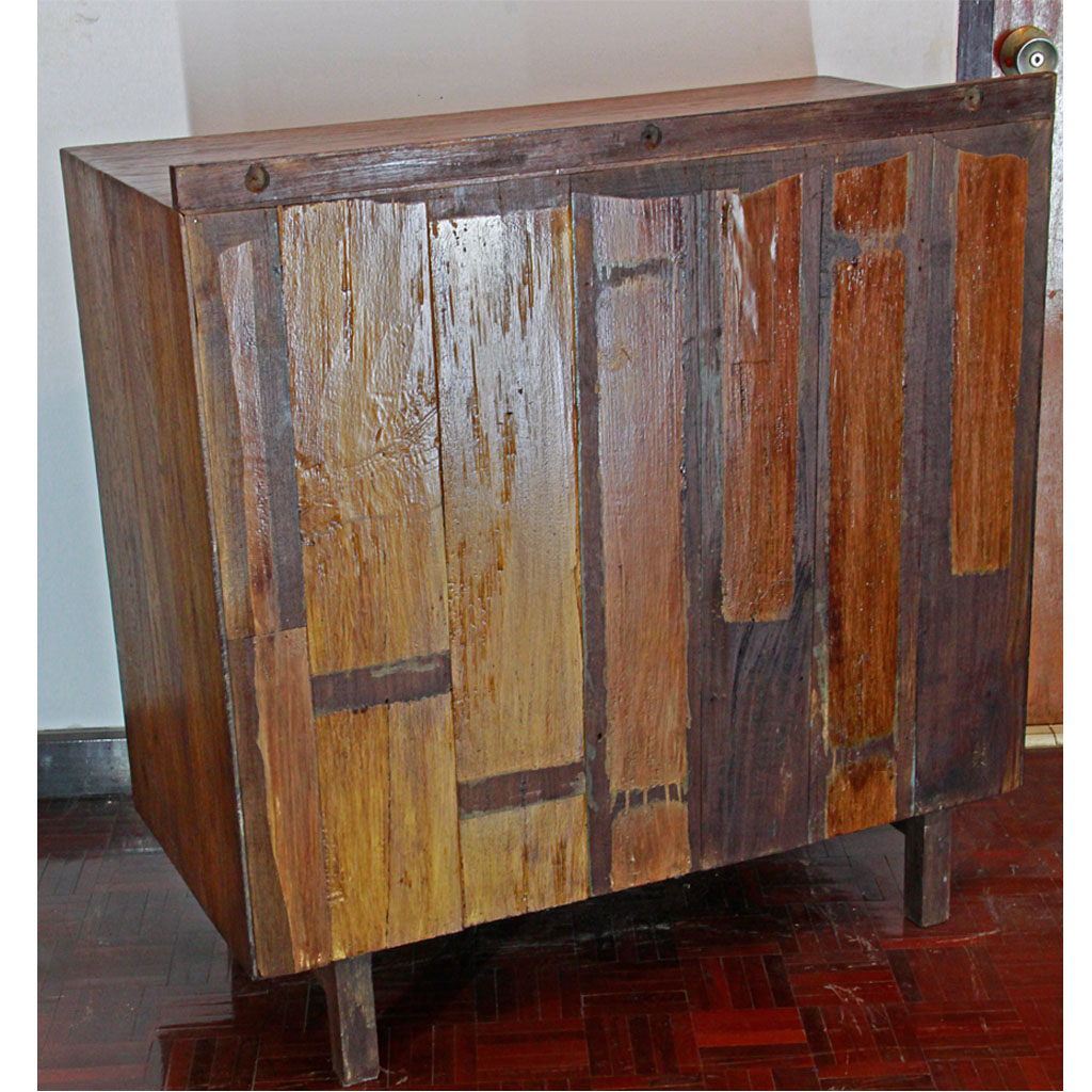 Thai Retro Teak Sideboard With Sliding Glass And Blue Paint