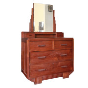 Burmese Art-Deco Teak Chest of Drawers with Vanity Mirror
